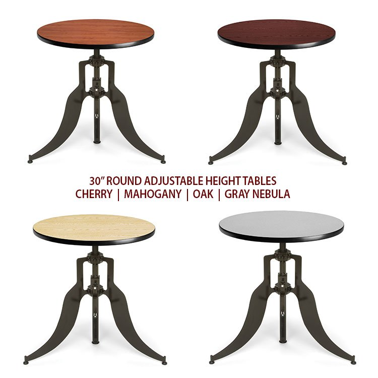 Round Adjustable Height Dining Table Laminate Tops